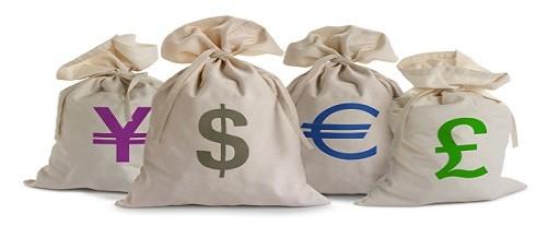 euro dollar moneybags